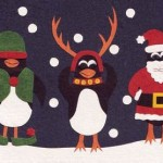 Christmas Penguins Handcrafted African Card