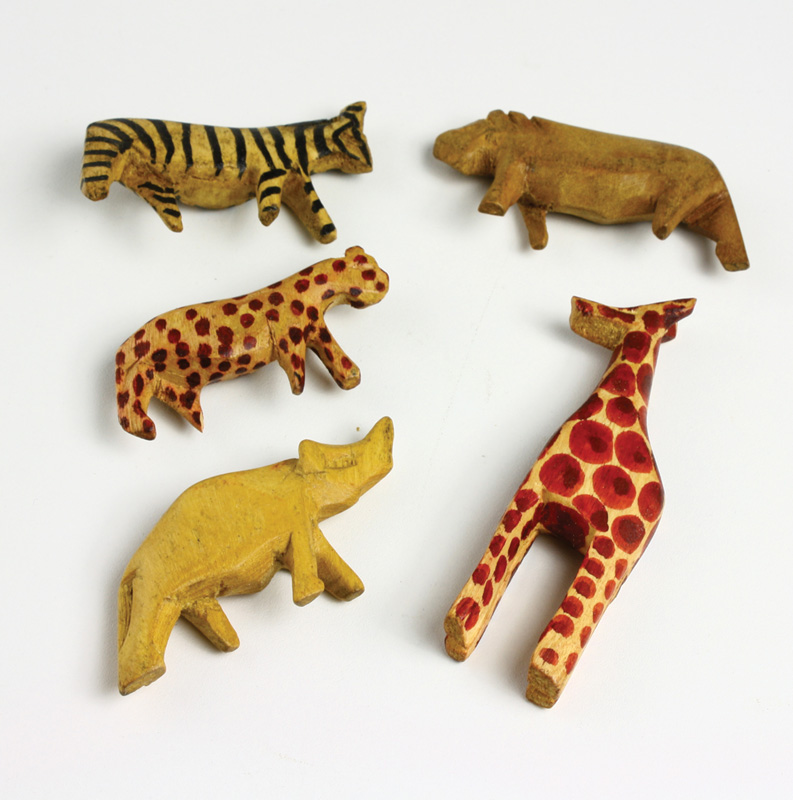 Hand carved african animal wood carvings set of